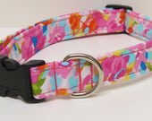 Blended Floral Watercolor Handmade Dog Collar