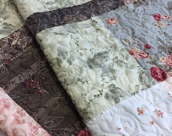 "SERENE ELEGANCE generous Lap Quilt 58"" x 72"" in smokey Grey, Rose, Blue, Tan, Brown and Beige"