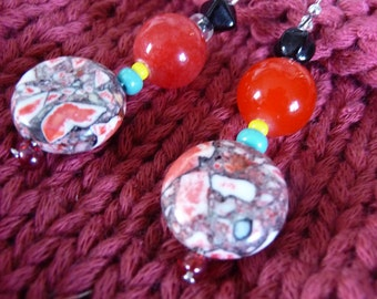 Cherry Red Swirls. jewelry earrings red black glass stone bead ball Valentines gift for her