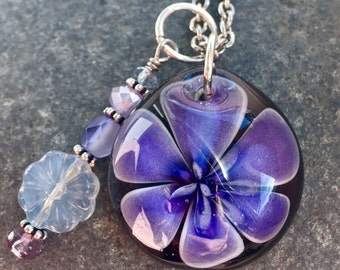 Glass Flower Pendant Boro Lily Lampwork Lavender Dream