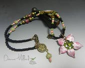 Lampwork beads lampwork necklace vintage brass spring necklace donna millard pink rose green mothers day mom gift for her czech beads