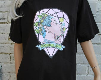 Fairy Pixie Blowing Bubbles Kawaii Indie Psytrance Pastelgoth Black T-Shirt XL