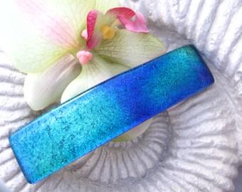 Large Barrette, Dichroic Glass Barrette, Green Purple Blue Barrette,  Dichroic Jewelry, Glass Jewelry, French Barrette, Jewelry, 112216ba4