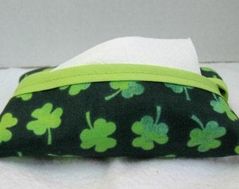Tissue Holder Shamrock - Clover Tissue Cozy - Purse Size Tissue Case - Small Tissue Cover