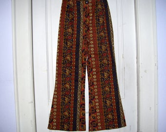 High Waist NOS NWOT Pants Bell Bottom Jeans 1970s 70s Vintage Vtg Retro Hippie Boho Flare Brown Blue Gold Paisley Stripe Adult Pants 26 wst