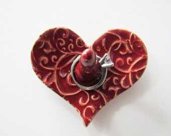 Dainty and Sweet Heart Shaped Ring Holder, Ring Dish, Ring Bowl, Red Glaze, Ready to ship