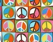 Robert Kaufman Flower Child Peace Signs Creamsicle OOP Fabric - By the Yard