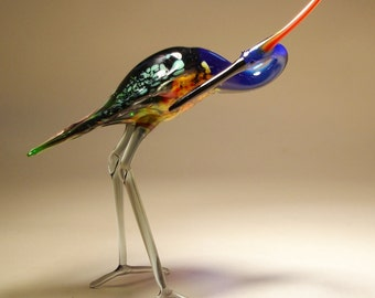 Handmade Blown Glass Art Blue HERON Bird with a Head Turned Figurine