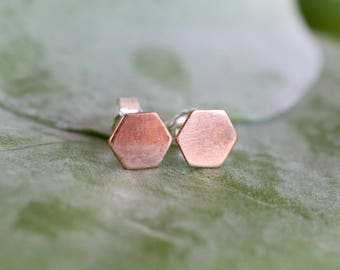 tiny copper hexagon studs on sterling silver posts