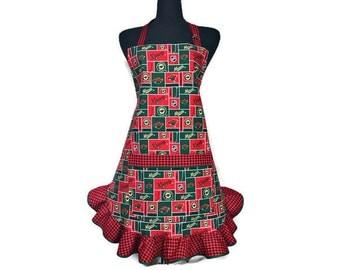 Minnesota Wild Apron for women , Ruffled Retro Style , Adjustable with pocket,  NHL / Hockey kitchen Decor