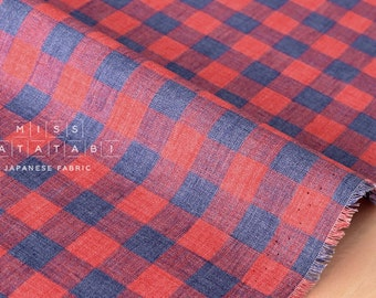 Japanese Fabric 100% linen plaid check - blue, red  50cm