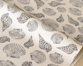Japanese Fabric seashells - grey - fat quarter