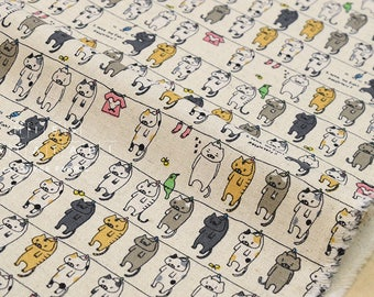 Japanese Fabric - cats on the line canvas - 50cm