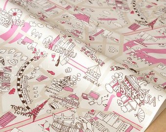 Japanese Fabric Yuwa Tokyo - pink, cream - fat quarter