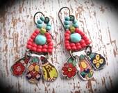 Tin Earrings. Artisan Made Earrings. Bohemian Dangle Gypsy Earrings