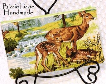 Mama Dear and Doe Vintage Fabric Medium Zipper Pouch, Pencil and Pen Accessory Bag, Woodland Deer Organizer Pouch