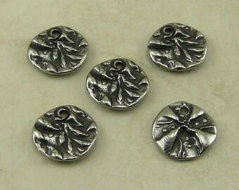 5 TierraCast Flora Dulce Vida Jardin Small Round Charms - Swirl Flower Leaf Leaves Zen Doodle Antique Pewter Silver LEAD FREE 2500