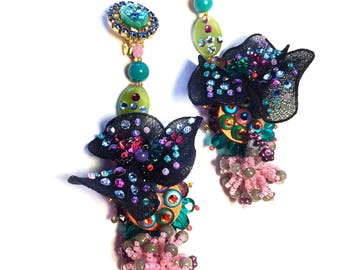 """Flower fantasy clip earring, """"Back to Couture"""" collection,blue, green, pink, purple tones rhinestone clip earrings"""