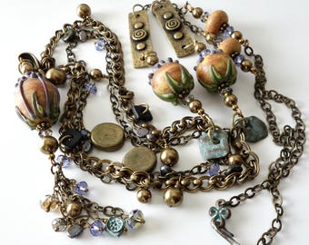 Lampwork Necklace and Earrings, Antique Brass, Verdigris, Earthy Pods, Pearls, Crystals, Extra Long Double Chain, Beaded Necklace, OOAK