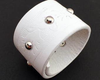 Clean White Tooled Leather Cuff Bracelet with Adjustable Closure, Leather Wristband, Recycled Belt Jewelry, Seattle Handmade, OOAK