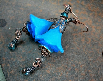 Sparkling Blue Bell Earrings, Fairy Flowers, Faery Couture, Shades of Blue, Elvish Blue, Antiqued Copper, Lacy Filigree, Elksong Jewelry