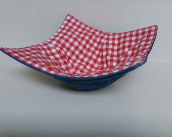 Microwave Bowl Cozy Denim Country Rustic Kitchen Handmade Heating Trivet Pot Holder Hot Pad Quilted Cloth Bowl Cereal