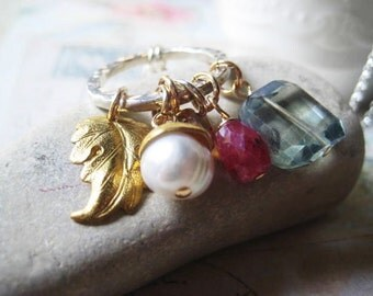 Charm Necklace, Mixed Metals, Sterling Silver, Fine Silver, Teal Quartz, Ruby Gemstone, Gold Cap Pearl, Artisan Beadcap, Brass Leaf