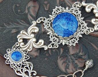 Sparkling Sapphire- Antiqued Silver Filigree and Glitter bracelet