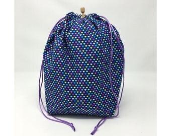 MOVING SALE - Purple Multi Hearts Drawstring Knitting Project Bag