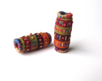 Fabric Beads - Embroidered Beads - Quilted Fabric Beads - Fiber Art - Textile Art - Set of 2 Handmade Tube Beads - Striped Cloth Beads