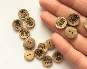 """Coconut Wood Buttons (B130) TEN 1/2"""" - 13mm Round with Fern Leaf Coconut Shell Buttons for Sewing Crochet Knitting Crafts Wood Buttons"""