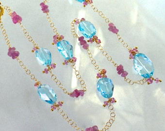 Outstanding Swiss Blue Topaz, Pink Sapphire Linked Long Necklace in 14k gold fill