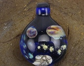 End of Year Sale Handmade Lampwork Glass Focal Space Pendant by Jason Powers SRA