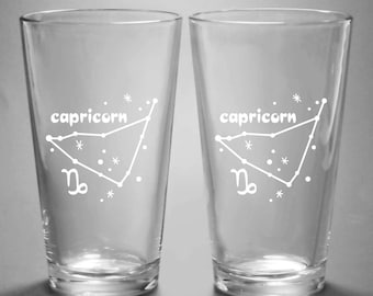 Capricorn Zodiac Constellation Pint Glass