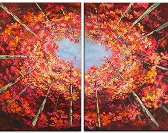 Original Landscape painting Red Forest skyline Art Looking Up, gallery wrap canvas Ready to hang by tim Lam 48x36