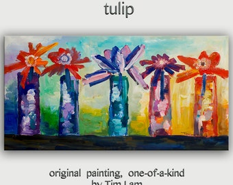 TULIP, Art Original abstract painting Multi color tulip Large Oil painting on gallery wrap canvas Ready to hang by tim Lam 48x24