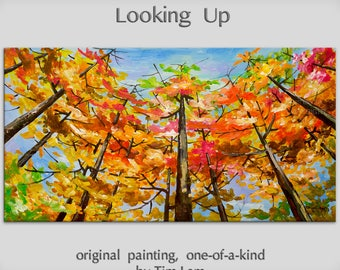 Abstract Landscape Painting Looking Up Forest Original huge modern acrylic on canvas by Tim Lam 48x24x1.4