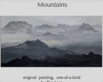 Original Landscape painting Black and White Mountain skyline Art on gallery wrap canvas Ready to hang by tim Lam 48x24