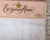 BIG SALE - Twin Bedskirt - White with Crochet Trim - European Home -All Cotton - Nostalgia - NIP Nos - Cottage Style