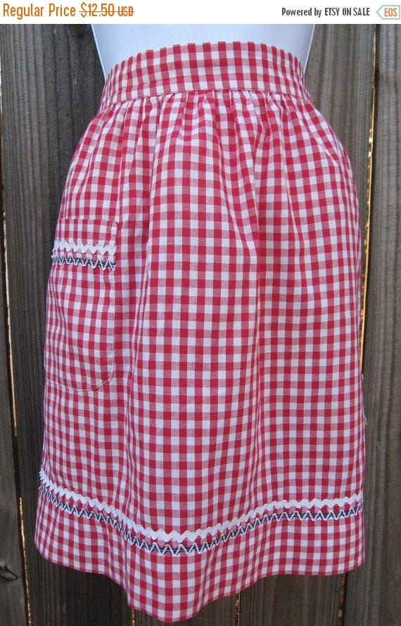 BIG SALE - Vintage Half Apron - Red Check with Hand Embroidery and Ric Rac