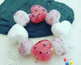 Lampwork Glass Beads Poodle Love