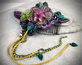 Flower Hair Comb - burlesque costume - Woodland Bridal Comb - Boho Bridal Comb - Fall Bridal Comb - Autumn Hair comb - flower hair combs