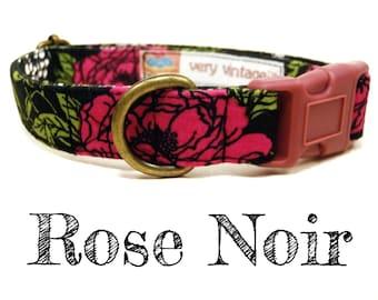"""Vintage Inspired Collar - Floral Roses Dog Collar - Girl Dog Collar - Shabby Chic Dog Collar - Antique Brass Hardware - """"Rose Noir"""""""