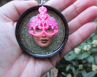 Incognito - upcycled Barbie Doll Face Pendant