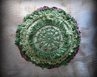 Large, Mossy,  Flower Stone, Bloom, Crocheted Lace, Original, Handmade, Home Decor, Shades of Green, Burgundy, Pink, Lavender. Monicaj