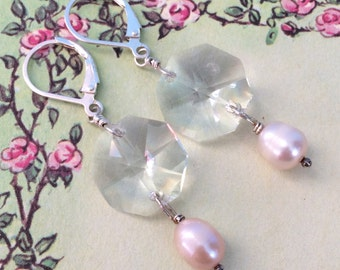 Chandra Earrings, chandelier crystals, freshwater pearls