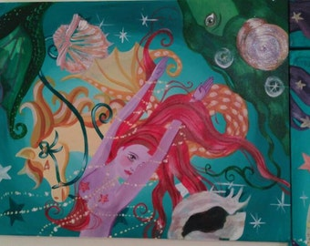 Red hair, Mermaid, 1 of 3 triptych, acrylic, painting, nautical, ocean, surrealism, Dame Darcy