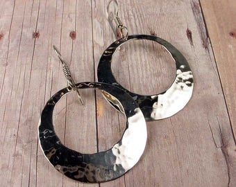 HAMMERED SILVER CIRCLE Earrings, Sterling Silver