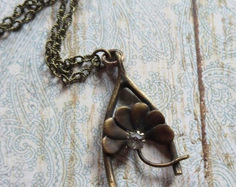 Antique Victorian Lucky Wishbone Pendant with Shamrock and Paste Accent on New Antique Look Brass Textural Linked Chain, Good Luck Talisman