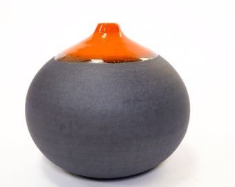 Made to order - 1 large stoneware droplet vase in orange and slate glaze by sara paloma